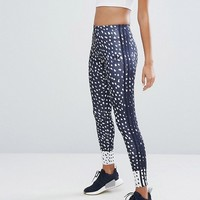 adidas Originals Three Stripe Print Legging In Navy Blue at asos.com