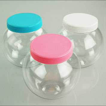 Plastic Round Favor Container with Lid, 4-1/2-inch, Large