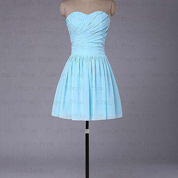 New Arrival A-line Sweetheart Above the knee Sleeveless Chiffon Prom Dress Bridesmaid Dress Evening Dress Party Dress 2013 With Pleated