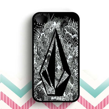 volcom batik black white  iPhone 4 and 4s case