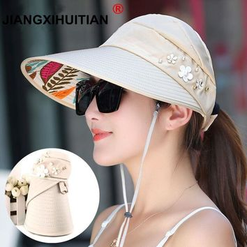 Hot 1PCS women summer Sun Hats pearl packable sun visor hat with big heads wide brim beach hat UV protection female cap