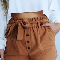 Falling For You Shorts: Cognac