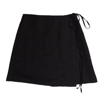 Season Mini Wrap Linen Skirt - Black