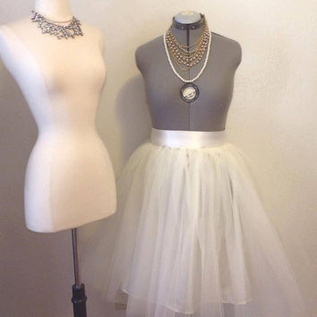 Ivory Tulle Tutu Skirt Knee Length with Satin Sash Made to Measure