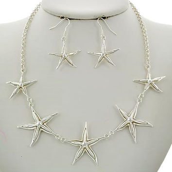 Silver Starfish Sea Life Nautical Necklace & Earring Set