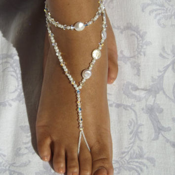 Barefoot Sandles Wedding Jewelry Anklet by SubtleExpressions