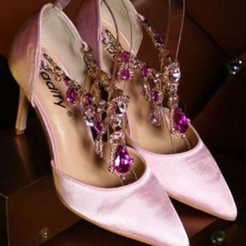 New Pink Point Toe Stiletto Rhinestone Chain Fashion High-Heeled Shoes