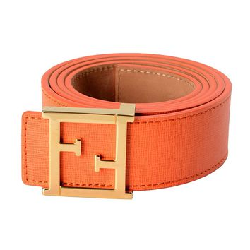Fendi 100% Leather Orange Women's Belt