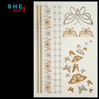 Gold/Silver Metallic Butterfly Tattoo