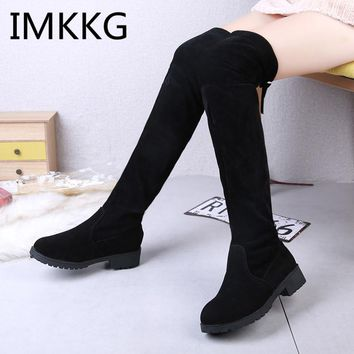 2018 Ladies Shoes Square Low Heel Women Over The Knee Boots Black Round Toe Woman Motorcycle Boots V256