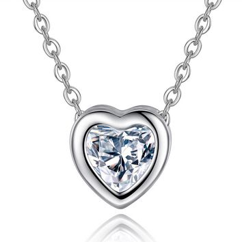 Heart Necklace 18k Gold Cubic Zirconia Crystal