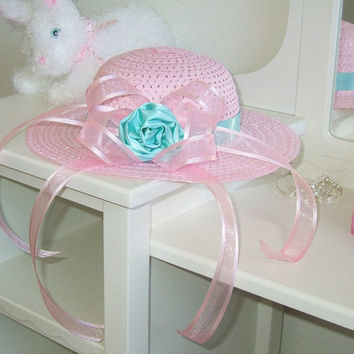 Pink Straw Hat Satin Rose and Ribbon Streamers by MySweetieBean