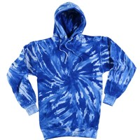 (TRENDY-NEW-NEON-ROYAL-BLUE & WHITE-TORNADO,FLEECE-TYE-TYED-PREMIUM-PULLOVER-HOODIES:)