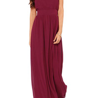 Burgundy Halter Back Bowknot Chiffon Maxi Dress