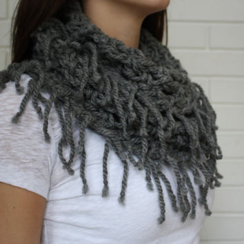 Crocheted Infinity Scarf, Fringe Scarf, Winter Accessory