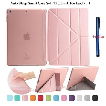 for Ipad air 1 case smart wake up sleep tpu back cover for apple ipad 5 pu leather flip stand soft full protect + stylus gift
