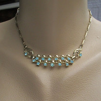 Aquamarine Blue Rhinestone Choker Necklace Vintage Jewelry