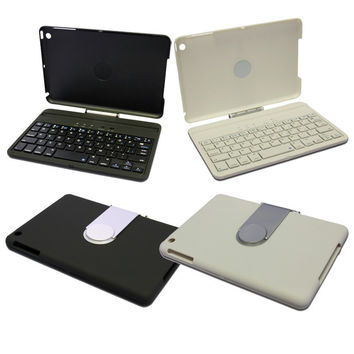 BLUETOOTH KEYBOARD For iPad MINI w/ 360 Degree Swivel Stand + Hard Folio Case