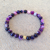Transformation, purple agate mala bracelet
