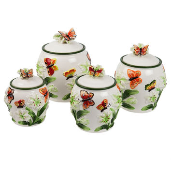 Butterflies & Flowers Four Piece Canister Set