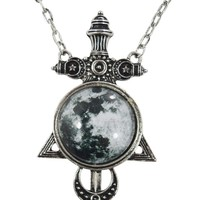 Restyle Gypsy Gothic Witchkraft Magic Night Luna Full Moon & Sword Pendant Necklace