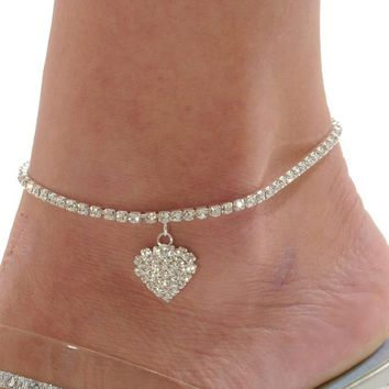 new Crystal Love Heart Anklet Star Ankle Bracelet For Women Foot Jewelry Summer Beach tornozeleira Bijoux