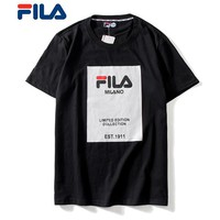 FILA Newest Fashionable Women Men Print Round Collar T-Shirt Top Blouse Black