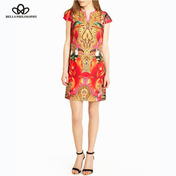 2015 summer new ethnic vintage red Totem Paisley Toucan floral print slim fit short sleeve V neck causal Tunic dress back zipper