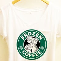 Frozen Coffee V neck Shirt |Elsa and Anna Sisters