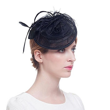 Valdler Women's Feather Mesh Net Sinamay Fascinator Hat with Clip Tea Party Derby Black