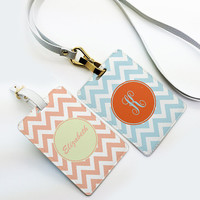 Two tags set - Personalized Luggage Tag, School Office Bag Tag, Travel Tag, Chevron zigzag, Custom Name Monogram with straps, coral and blue