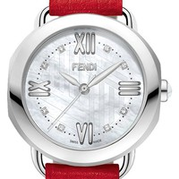 Fendi 'Selleria' Mother-of-Pearl Leather Strap Watch, 36mm | Nordstrom