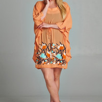 Plus Size 3/4 Sleeve Dress with Floral Embroidery