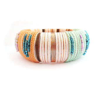 Pastel and copper thread wrapped wood bangle, ethnic bangle, boho chic bangle