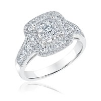 Square Diamond Cluster Double Halo Engagement Ring 1ctw