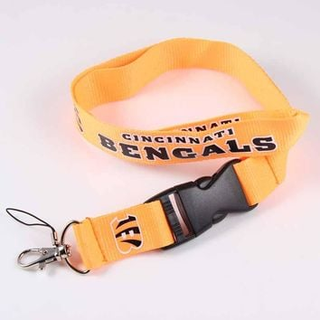 Cincinnati Bengals Logo Phone Lanyard 55cm Long Neck Strap Hang For Mobile Phone ID Card Key USB Camera Mobile Phone Straps