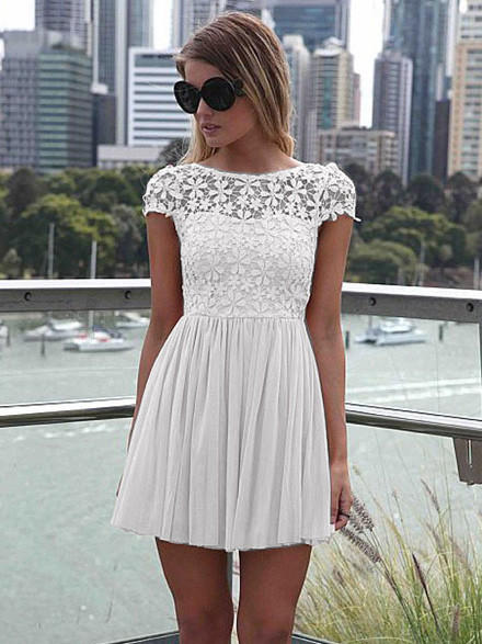 White floral lace short sleeve pleated from western moon epic white floral lace short sleeve pleated chiffon mini dress mightylinksfo