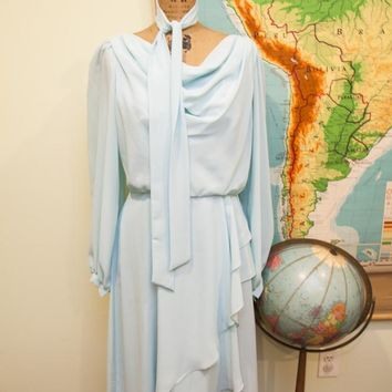 Vintage 70s Chiffon Pale Blue Dress
