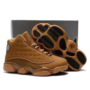 PEAPGE2 Beauty Ticks Kids Air Jordan 13 Retro Wheat Sport Shoe Us 11c - 3y