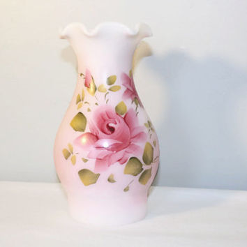 Vintage Pink Rose Hand Painted Hurricane Lamp Shade, Frosted Glass