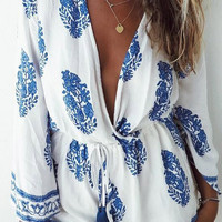 Cupshe Light As a Feather Printing Plunging Romper