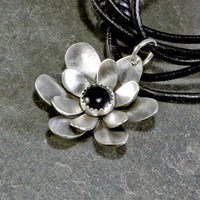 Sterling Silver Flower Pendant with Black Onyx