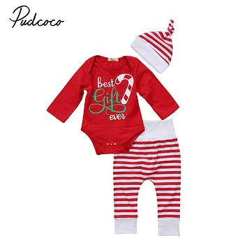 Baby Girl Boy Clothes 3PCS Set Newborn Christmas Romper Tops Shirt Long Pants Hat  New Arrival Fashion Outfits Clothes Set