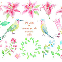 Wedding clipart - Hand painted watercolor pink lilies and a pair of hummingbirds printable instant download  for  wedding invitations