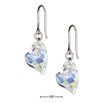 Sterling Silver Earrings:  Clear Aurora Borealis Swarovski Crystal Lopsided Heart Earrings