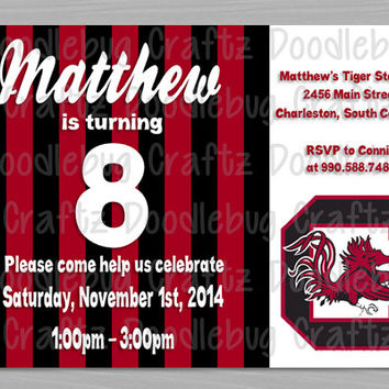 University of South Carolina Gamecocks Birthday Party Invitations! Custom Personalized 24hr turn around. Choose Your Size 4x6 or 5x7 USC