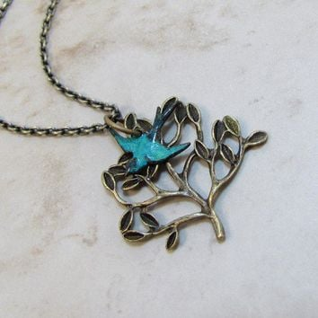 Brass Tree And Bluebird Necklace by CuteAbility on Etsy