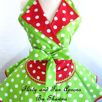Retro Pin Up Christmas Lucy Apron with Red and Lime Green Polka Dots