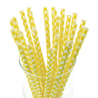 Race Car Checkered Paper Straws, 7-3/4-inch, 25-pack, Yellow