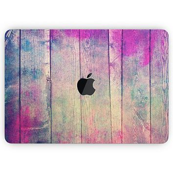 "Pink & Blue Grunge Wood Planks - Skin Decal Wrap Kit Compatible with the Apple MacBook Pro, Pro with Touch Bar or Air (11"", 12"", 13"", 15"" & 16"" - All Versions Available)"